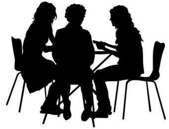 3 women lunch siillouette